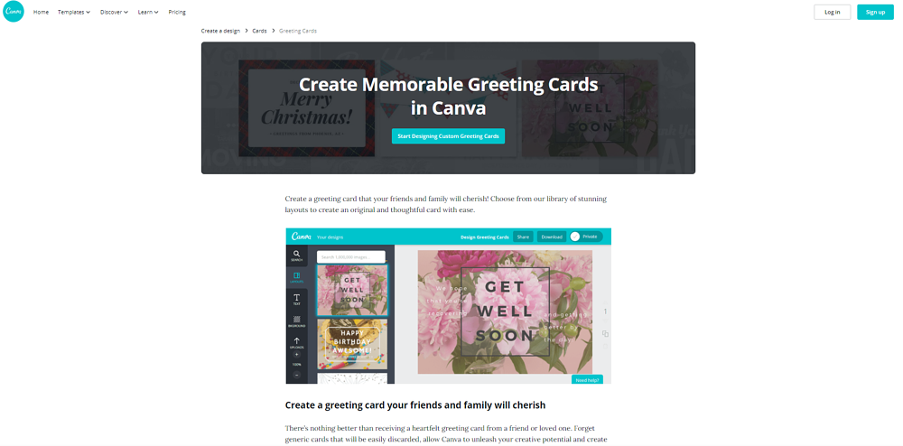 Example of Canva landing page for greeting cards