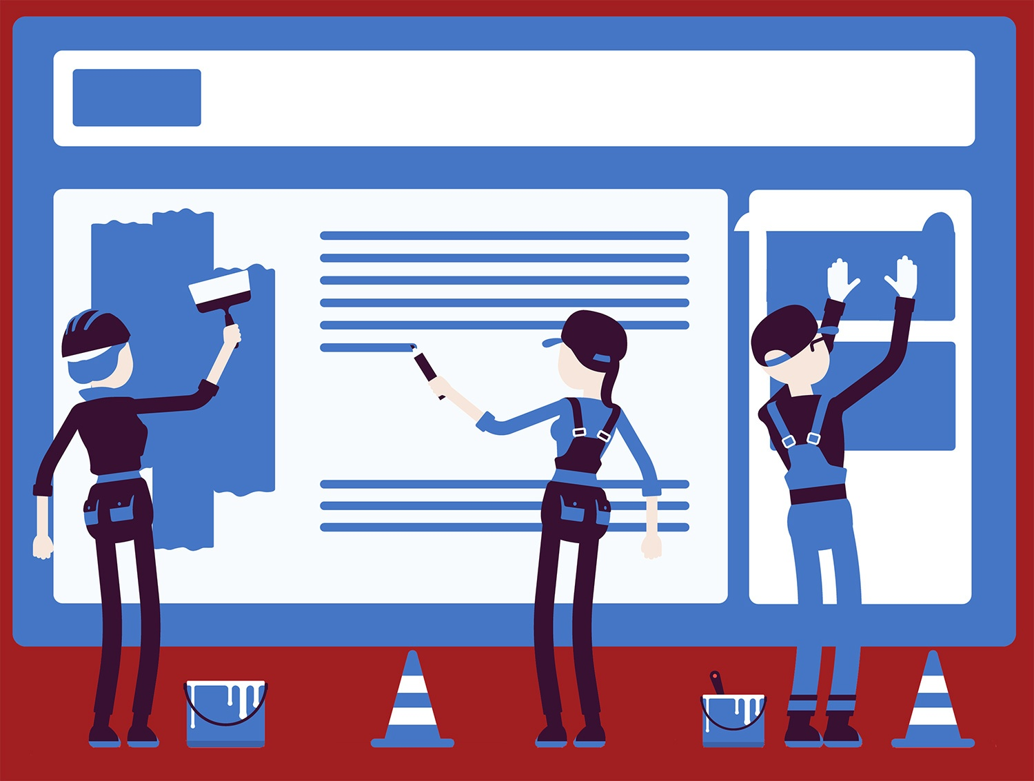 Illustration of workers building a webpage
