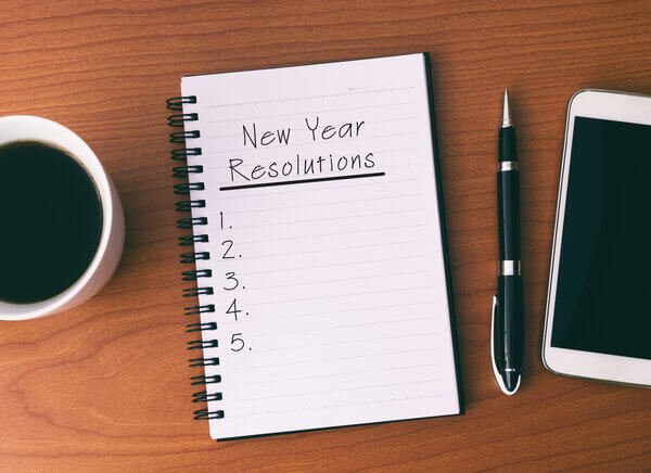 Writing page with New Year's resolution lists