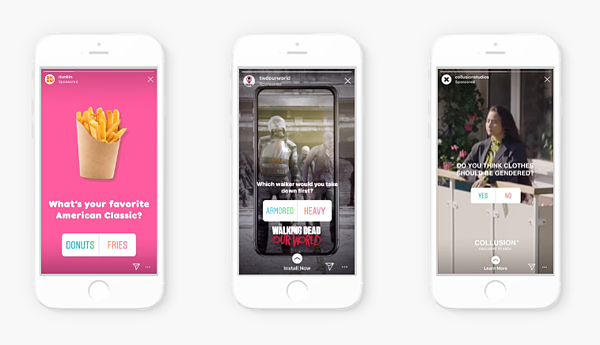 Examples of interactive Instagram stories ads