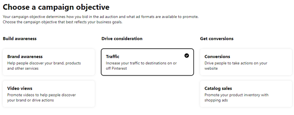 Campaign objective Pinterest screenshot