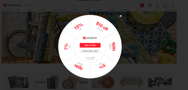 Screengrab of Overstock prize wheel