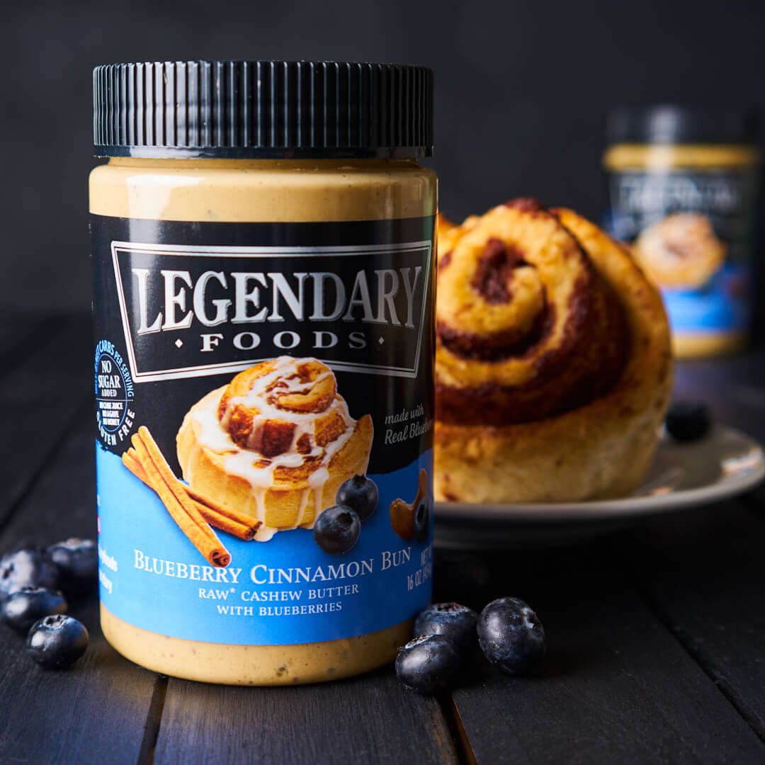 Legendary Foods cashew butter spread and cinnamon bun
